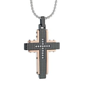 LYNXMen's Cubic Zirconia Tri-Tone Stainless Steel Cross Pendant
