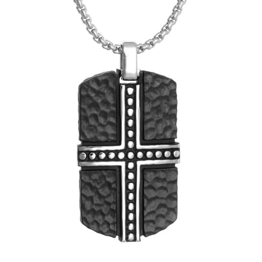 LYNXMen's Stainless Steel Cross Dog Tag Necklace