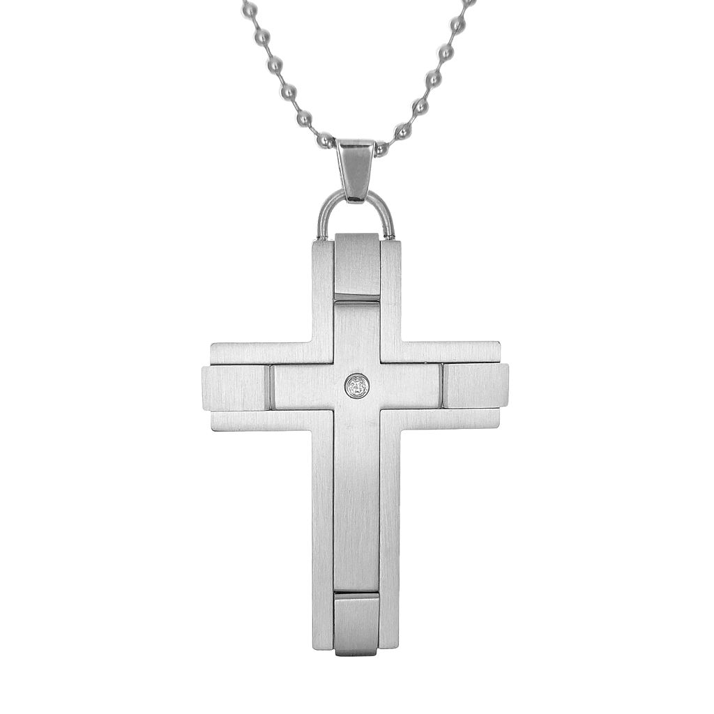 LYNXMen's Cubic Zirconia Stainless Steel Cross Pendant