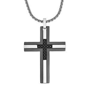 LYNXMen's Two Tone Stainless Steel 1/6 Carat T.W. Black Diamond Cross Pendant