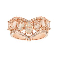 14k Rose Gold Over Silver Morganite & White Zircon V Ring