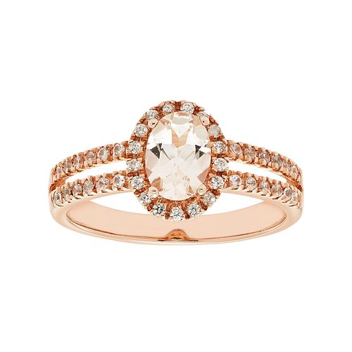 Sterling Silver Morganite & White Zircon Halo Ring