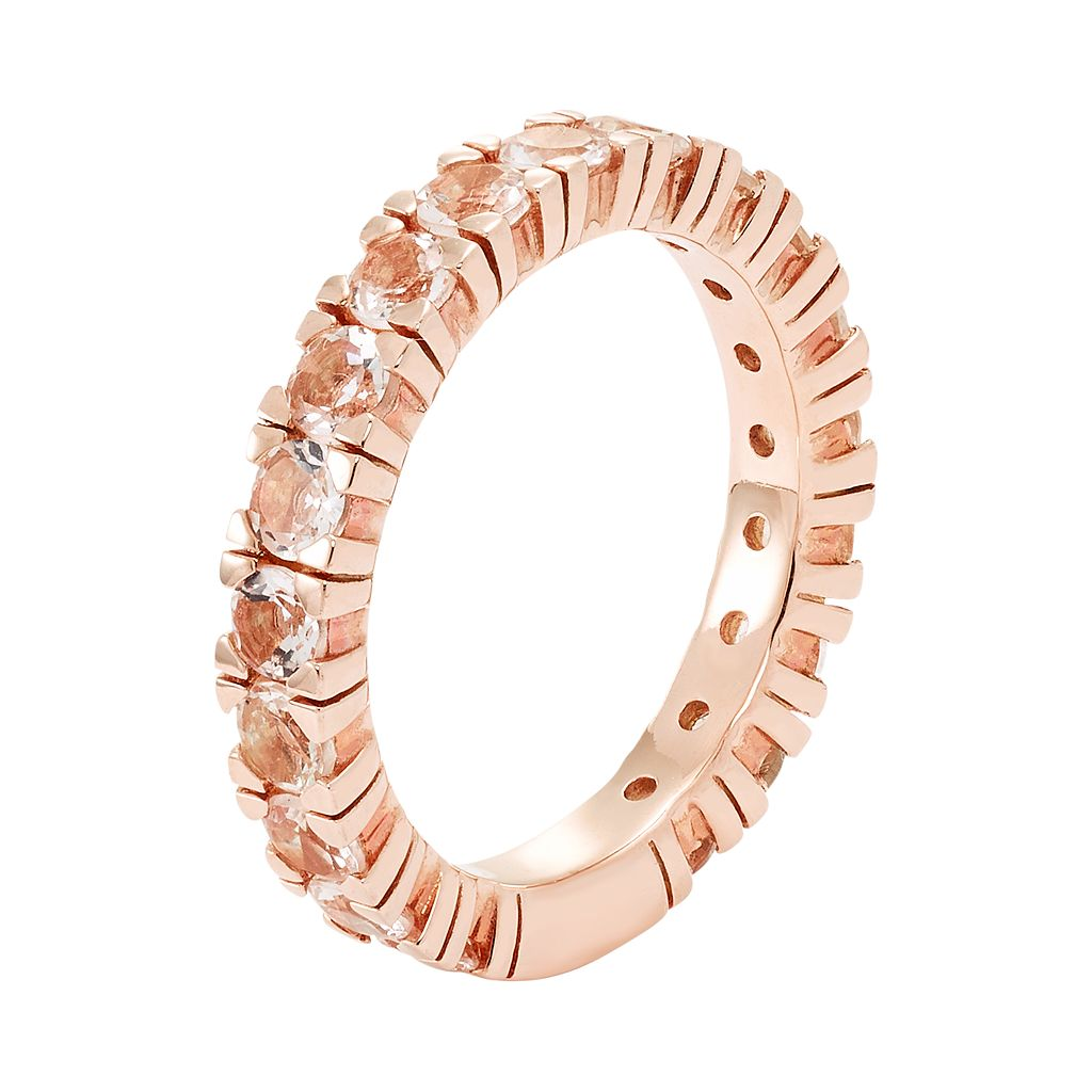14k Rose Gold Over Silver Morganite Eternity Ring