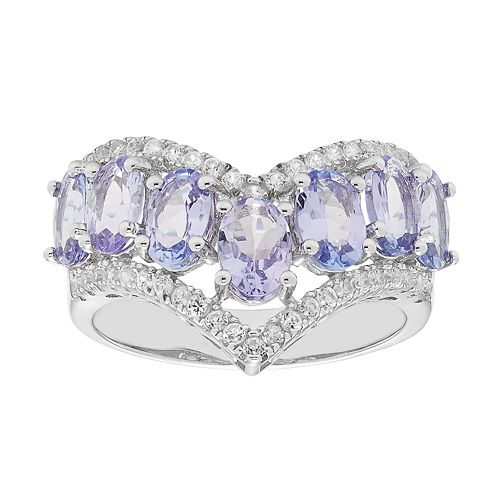 Sterling Silver Tanzanite & White Zircon V Ring