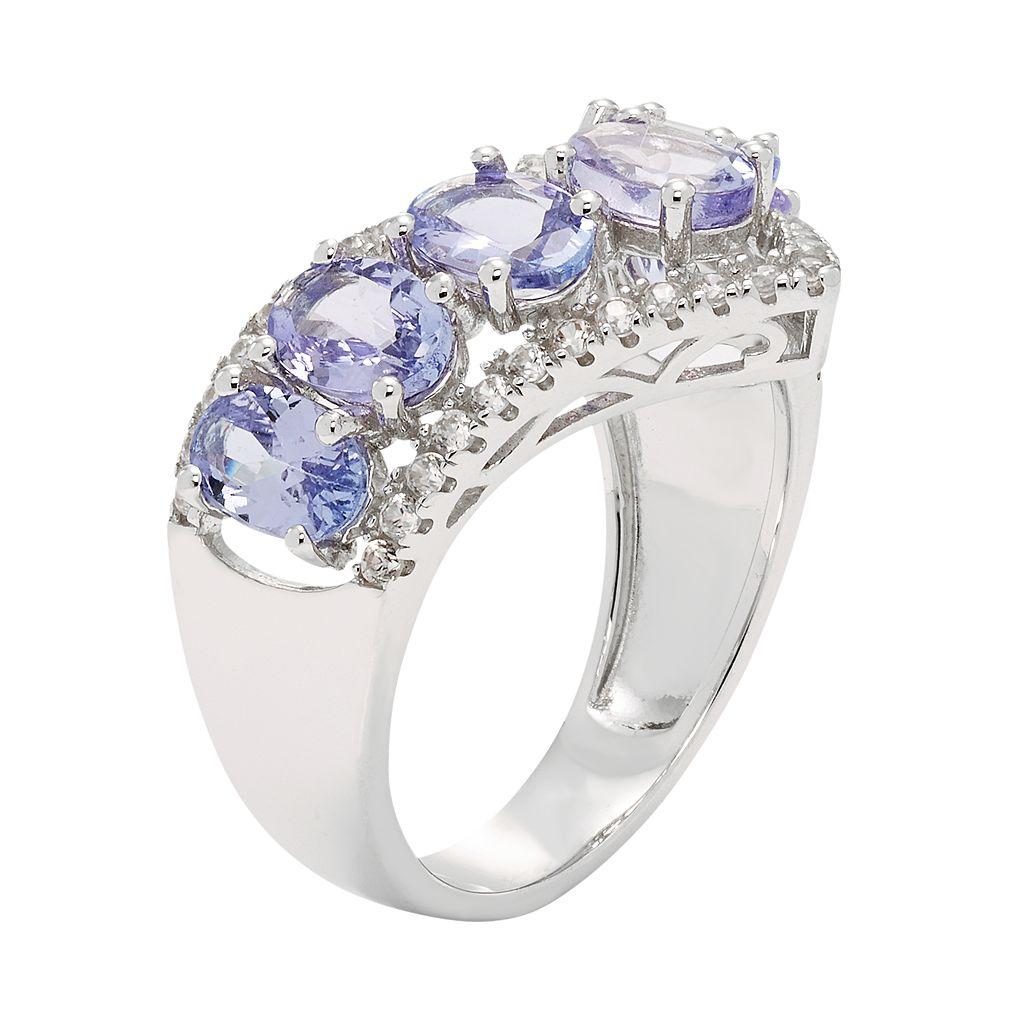 Sterling Silver Tanzanite & White Zircon V Ring