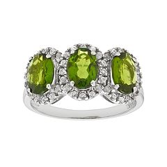 Sterling Silver Chrome Diopside & White Zircon 3-Stone Halo Ring