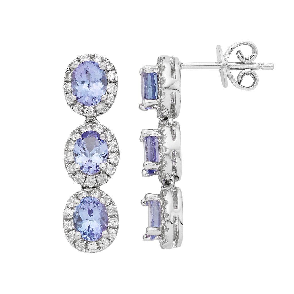 Sterling Silver Tanzanite & White Zircon Linear Drop Earrings