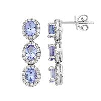 Sterling Silver Tanzanite & White Zircon Linear Drop Earrings