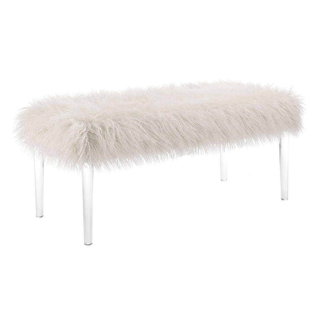 Linon Faux Fur Flokati Acrylic Leg Bench