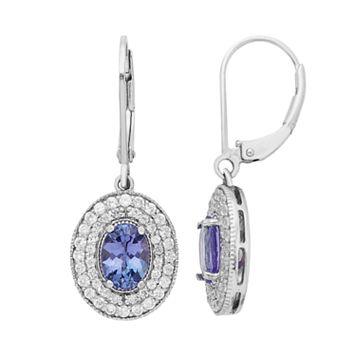 Sterling Silver Tanzanite & White Zircon Halo Drop Earrings