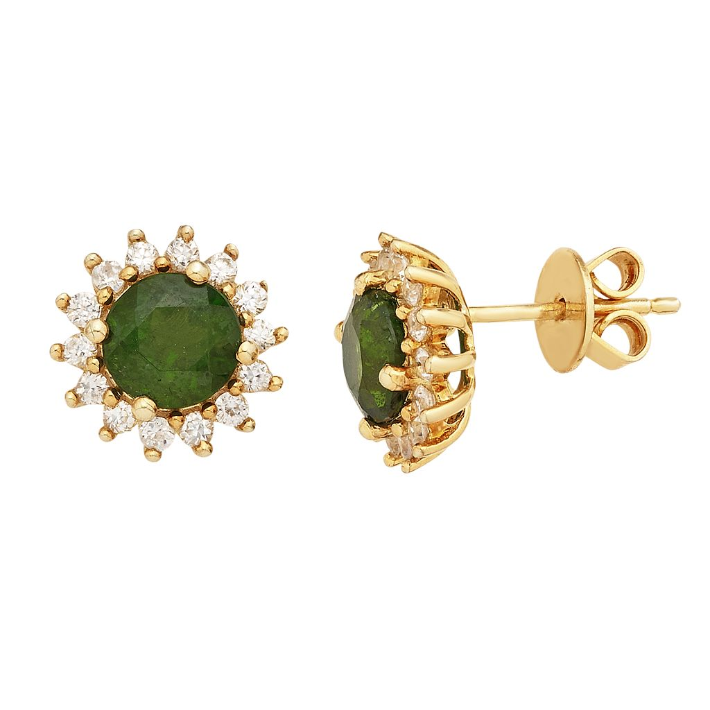 14k Gold Over Silver Chrome Diopside & White Zircon Halo Stud Earrings