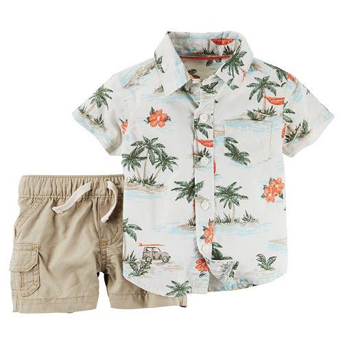 Boys Carter/'s Short Sleeve Hawaiian Theme Button Down Shirt Size 12 Months
