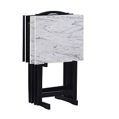Linon White Faux Marble TV Tray Table 5-piece Set