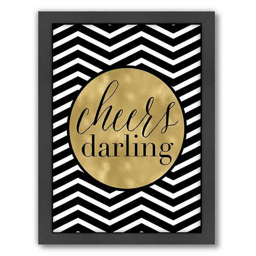 "Americanflat ""Cheers Darling"" Chevron Framed Wall Art by Amy Brinkman"