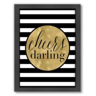 "Americanflat ""Cheers Darling"" Stripe Framed Wall Art by Amy Brinkman"