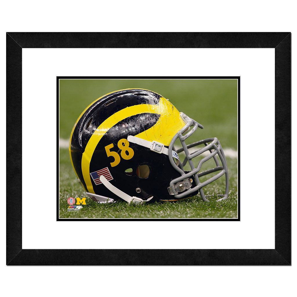 Michigan Wolverines Helmet Framed 11