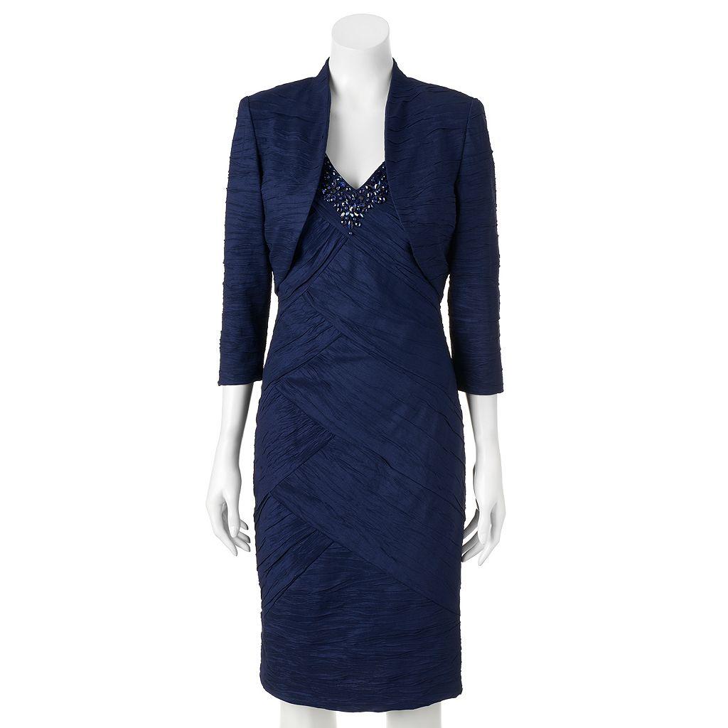 Women's Jessica Howard Spliced Sheath Dress & Bolero Jacket Set