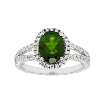 Sterling Silver Chrome Diopside & White Zircon Halo Ring