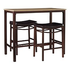 Linon Betty Pub Bar Table 3 Piece Set