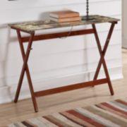 Linon Faux Tile Top Folding Buffet Tray Table