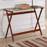 Linon Faux Tile Top Folding Buffet Tray Table