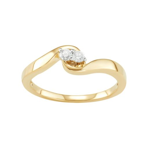 10k Gold 1/10 Carat T.W. Diamond 2-Stone Ring