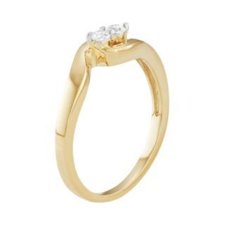 10k Gold 1/10 Carat T.W. Diamond 2-Stone Ring