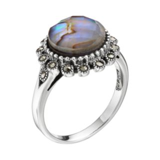 Tori Hill Sterling Silver Abalone Doublet & Marcasite Halo Ring