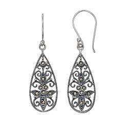 Tori Hill Sterling Silver Marcasite Filigree Teardrop Earrings