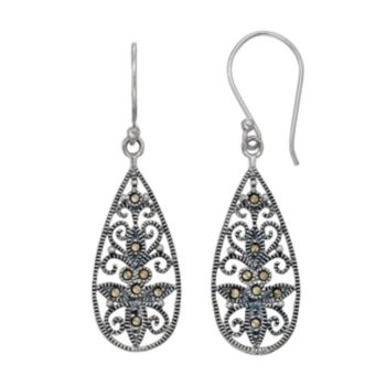 Tori HillSterling Silver Marcasite Filigree Teardrop Earrings