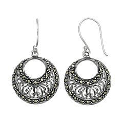 Tori Hill Sterling Silver Marcasite Filigree Hoop Drop Earrings