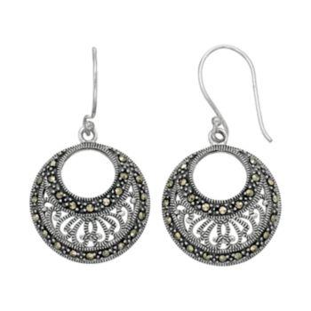 Tori HillSterling Silver Marcasite Filigree Hoop Drop Earrings