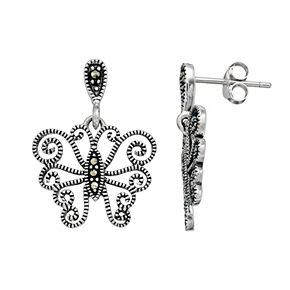Tori Hill Sterling Silver Marcasite Butterfly Drop Earrings