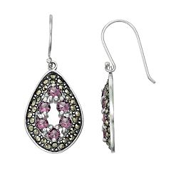 Tori Hill Sterling Silver Cubic Zirconia & Marcasite Teardrop Earrings