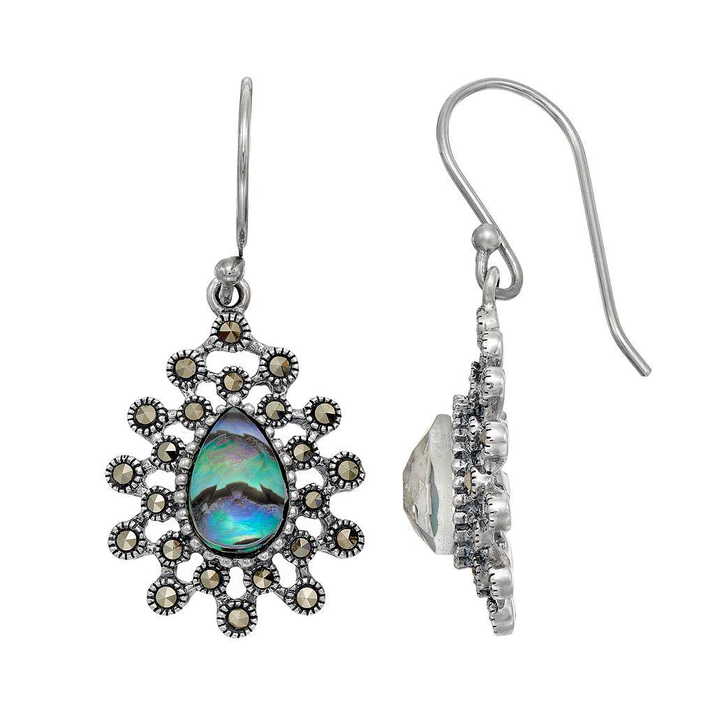Tori HillSterling Silver Abalone Doublet & Marcasite Starburst Teardrop Earrings