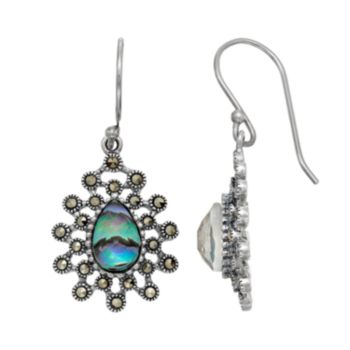 Tori Hill Sterling Silver Abalone Doublet & Marcasite Starburst Teardrop Earrings