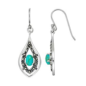 Tori Hill Sterling Silver Simulated Turquoise & Marcasite Drop Earrings