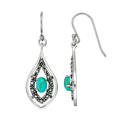 Tori HillSterling Silver Simulated Turquoise & Marcasite Drop Earrings