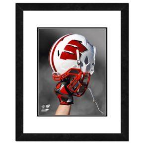 """Wisconsin Badgers Helmet Framed 11"""" x 14"""" Photo"""