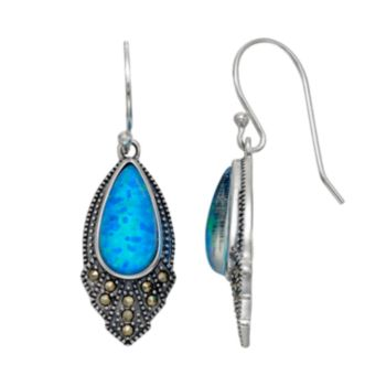 Tori Hill Sterling Silver Simulated Blue Opal & Marcasite Drop Earrings