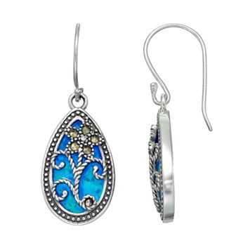 Tori Hill Sterling Silver Simulated Blue Opal & Marcasite Floral Teardrop Earrings