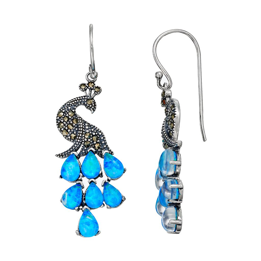 Tori Hill Sterling Silver Simulated Blue Opal & Marcasite Peacock Drop Earrings
