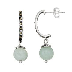 Tori Hill Sterling Silver Jade & Marcasite J-Hoop Earrings