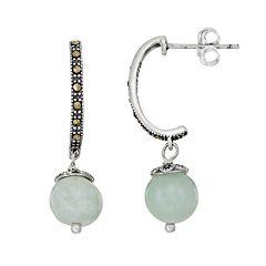 Tori HillSterling Silver Jade & Marcasite J-Hoop Earrings