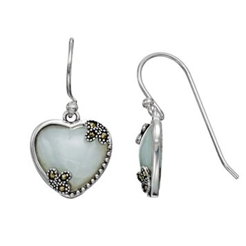 Tori Hill Sterling Silver Jade & Marcasite Heart Drop Earrings