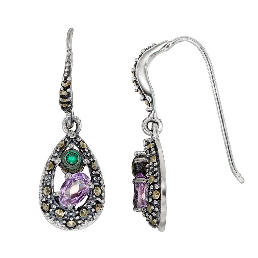 Tori HillSterling Silver Gemstone Teardrop Earrings