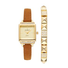 Peugeot Women's Crystal Leather Watch & Bracelet Set