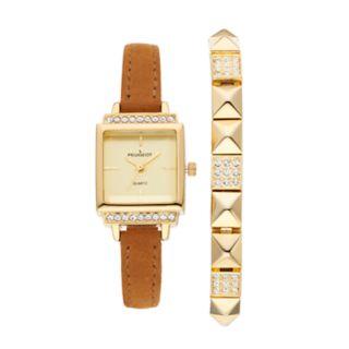 Peugeot Women's Crystal Leather Watch & Bracelet Set