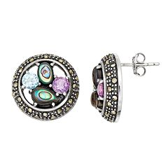 Tori Hill Sterling Silver Gemstone Button Stud Earrings