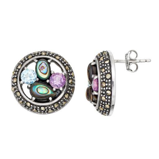 Tori HillSterling Silver Gemstone Button Stud Earrings